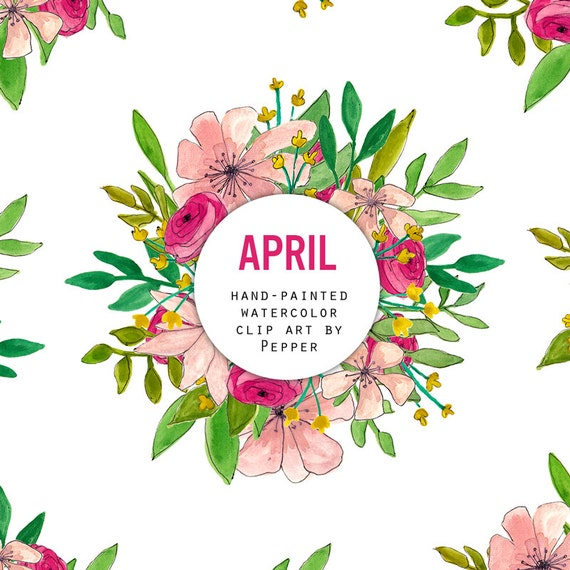 April Bouquets: INSTANT DOWNLOAD April Watercolor Flowers Clipart Set