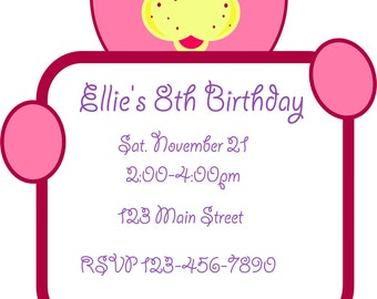 Pink Teddy Bear Printable Birthday Invitation