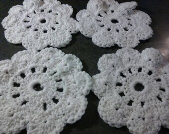 Crocheted White Doilies - 4 pack