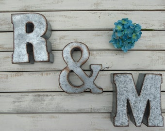 7 galvanized metal letters choose 2 letters ampersand sign wall decor hang or sit on shelf industrial steel urban shabby chic decor