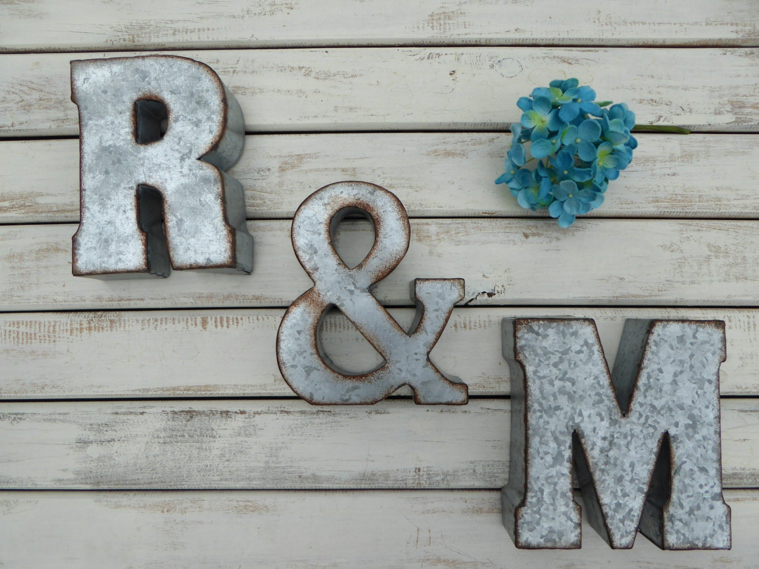 "Ampersand Wall Decor 7"" galvanized metal letters choose ""2 letters + ampersand"" sign"