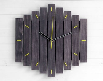 Wooden Wall Clock, Dark Clock, Big Clock, Living Room Decor, Anniversary Gift, Rustic Chic Decor, Yoga Studio Decor, Meditation Clock