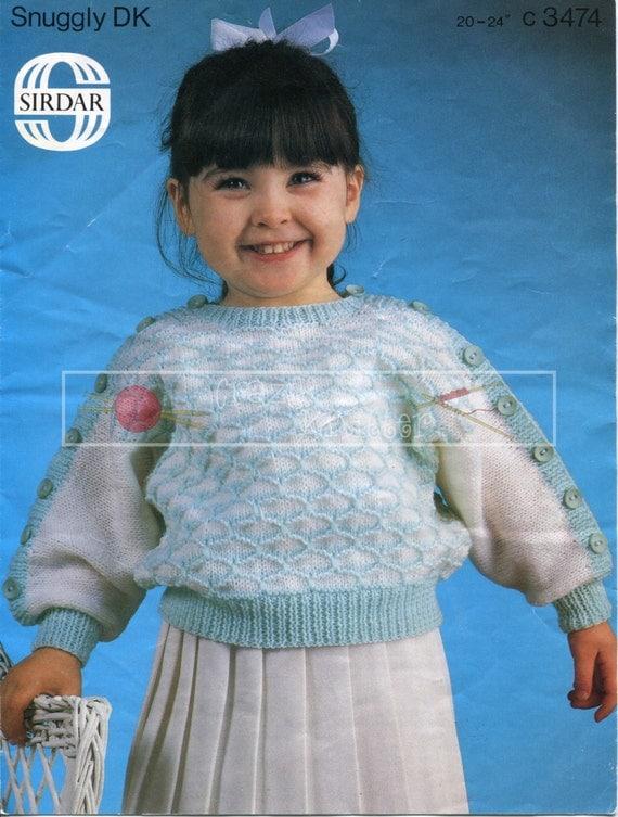 Baby Sweater 1-4 Years DK Sirdar 3474 Vintage Knitting Pattern PDF instant download