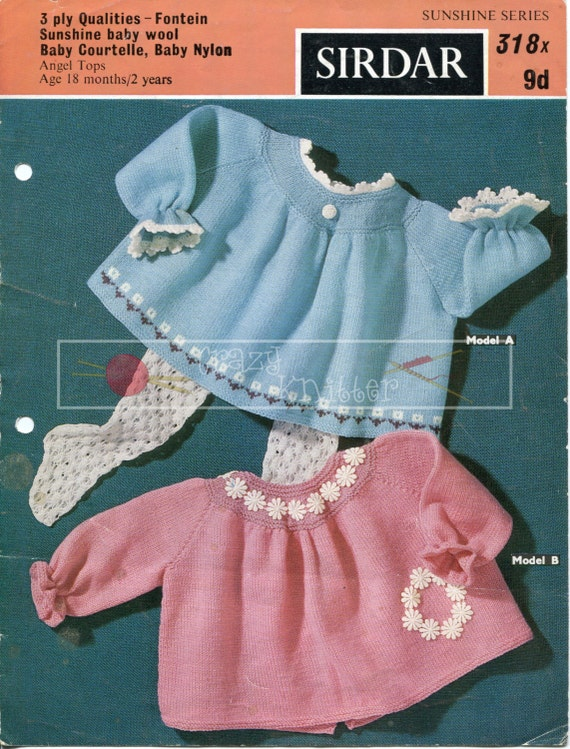 Baby Angel Tops 18-24 months 3-ply Sirdar 318 Vintage Knitting Pattern PDF instant download