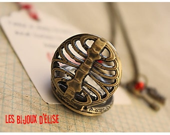 Ribcage Pocket Watch Pendant Necklace Listen to My Heart Victorian Style Bronze Antique