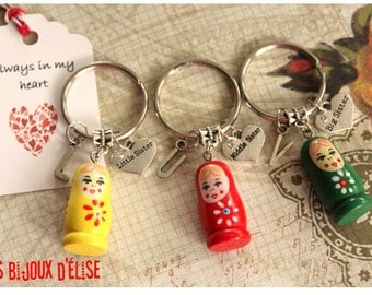 3 pcs Matryoshka Big Sister, Middle Sister, Little Sister Keychain Friendship Keychains Family Keychain (KC31-LOT 1))
