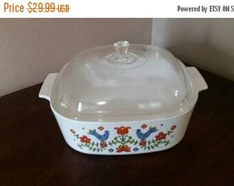 On Sale Vintage Kitchen Corning Ware County Festival or County Fair Design 4 Quart Casserole Dish