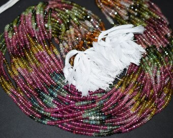 AAA Multi Tourmaline Gemstone Rondelle Faceted 3.50 mm- WatermelonTourmaline Faceted Beads 18 inch strand -180 beads
