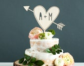 Custom Wedding Cake Topper With Initials - Heart with Arrow