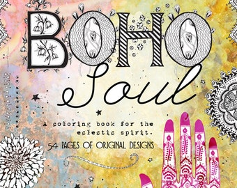 Boho Soul Adult Coloring Book - Orig. Price 10.00, SALE 6.00!!! 24 Hour Sale!