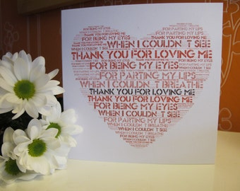 Thank you for loving me I love you, greetings card