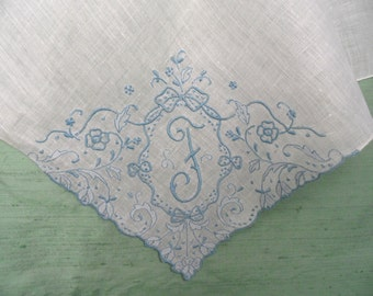 Monogram F embroidered handkerchief / blue and white linen hankie / initial F letter F