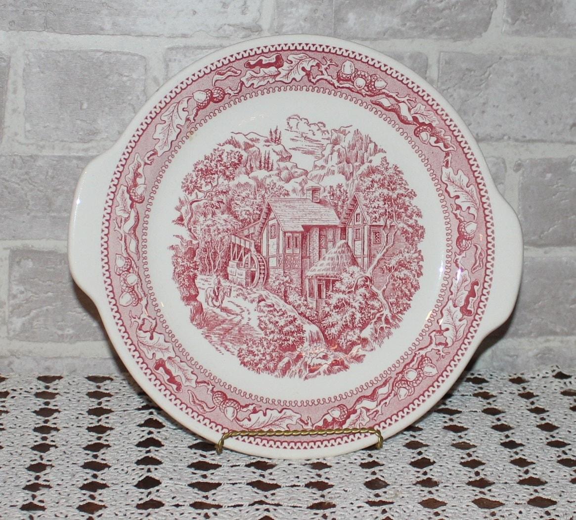 Memory Lane Platter Handled Cake Plate Red Transferware
