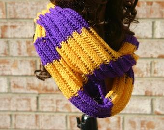 Purple/Yellow (Gold) Knit Infinity Scarf