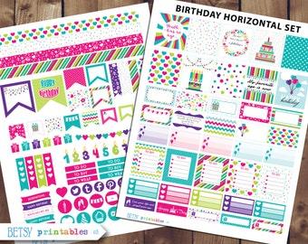 Horizontal Birthday Printable planner stickers, Birthday planner stickers, Erin Condren Printable Stickers, Birthday stickers -  415