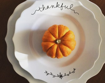 thankful plate.  fall plate. thanksgiving plate.