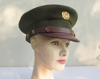 Vintage WWII US Army Air Corps NCO Visor Cap - by Lewis - Size 6 7/8th