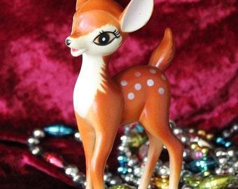 Adorable Vintage Reindeer Hard Plastic Christmas Deer Figurine