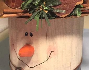 Primitive Snowman decorative candle holder