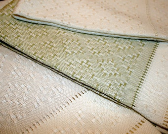 Elegant, Handwoven, Hand Towels, Hand Towel, Diamond Design Lace, Bamboo, Cotton