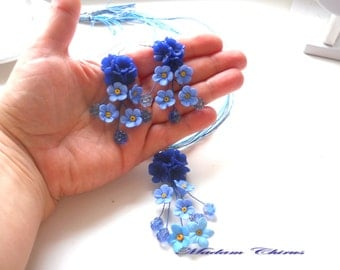 Pendant and earrings with blue cornflowers,Necklace with flowers, pendant with flowers, elegant necklace. dark blue