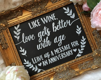 Like Wine, Love gets better with age. Leave us a message for our Anniversary Sign.