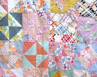Vintage 1930's  BROKEN DISHES Quilt Top  Beautiful Fabrics     Hand-Pieced    Other Blocks Included