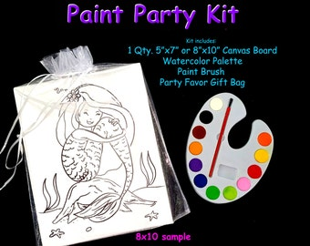 Kids Paint Party activity or Art party supply - paint or color your own canvas Mermaid or Under the Sea theme.  8x10 or 5x7""