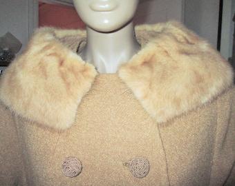 Vintage Textured BrownTweed Winter Coat Mink Collar 60's