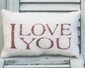 I LOVE YOU Pillow Home Decor Pillow Decorative Pillow