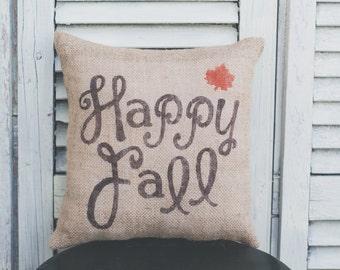 Happy Fall small pillow, fall decor, Autumn decor, Halloween, burlap decor, decor pillow 12x12 pillow
