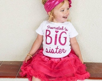 Promoted to BIG Sister sis Bodysuit / Toddler Tee or Tank Top Sparkly Custom Glitter Color