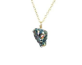 Druzy necklace - titanium aura quartz necklace - raw crystal necklace - geode druzy - a drop of quartz on a 14k gold vermeil chain