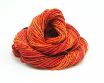 Mini Skein, Handspun Yarn, Merino Yarn, Sport Weight, Baby Weight, Tiny Skein, Red Yarn, Orange Yarn, Merino Mini Skein, Destash, LAVA