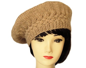 Brown Beret, Brown Hat, Alpaca, Wool Hat, Knitted Beret Hats for Women, Clothing, Gifts for Her, Handmade Gifts, Sue Maun