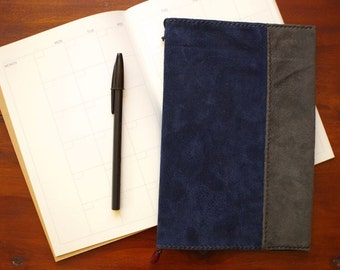 Calendar notebook cover, with book, Memo cover, Journal cover, Navy & Gray, Diary cover, Free Shipping within Australia