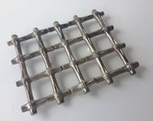 Vintage Leonard Silver Plate Expandable Trivet Italy Bamboo Motif Cooling Rack
