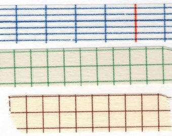 PRE ORDER: (AUG delivery) Grid Washi Tape Set - Classiky - Various Widths