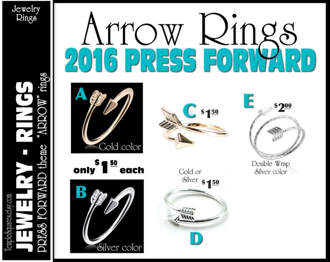 """CLEARNACE Silver Arrow Rings Pack of 10 rings  only 1.00 each """"Press Forward with a Steadfastness"""" 2016 theme silver YW charms"""