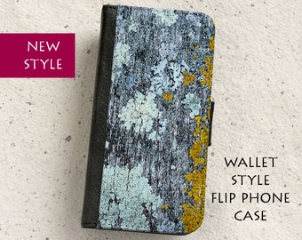 iPhone Case (all models) - Lichen - wallet style flip case -  Samsung Galaxy S4,S5,S6,S7Edge,Note5,S8,S8Plus & more