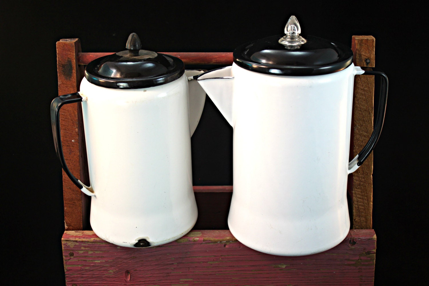 Vintage Graniteware Coffee Pot White Enamelware With Black
