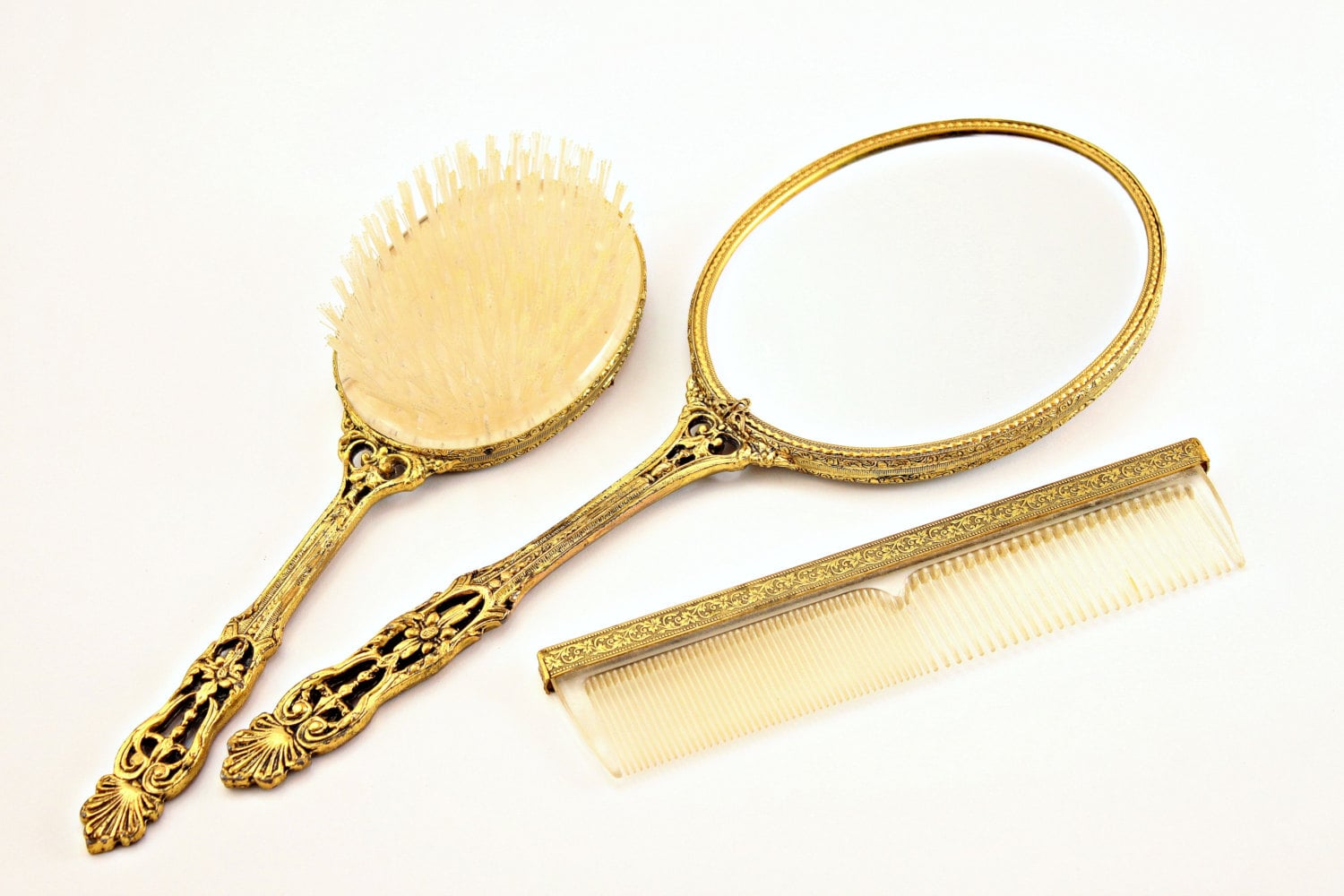 Gold Vanity Set Beveled Hand Mirror Brush and Mirror Set