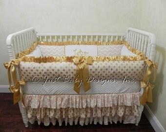 Girl Baby Crib Bedding Set Carissa Pink and Gold Baby