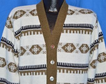 60s White Brown Black Snowflake Cardigan Sweater Medium