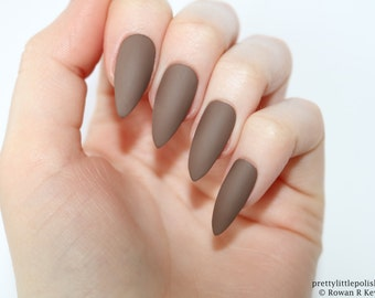 Stiletto nails, Matte brown stiletto nails, Fake nails, Press on nails, False nails, Stiletto false nails, Press on stiletto nails
