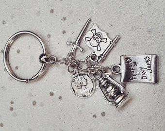 Pirates of the carribean keyring pirate keychain bag charm jolly Roger Davy Jones
