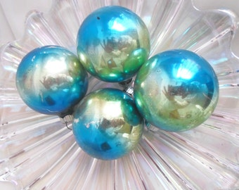 4 Blue Green Ombre' Shiny Brite Christmas Ornaments