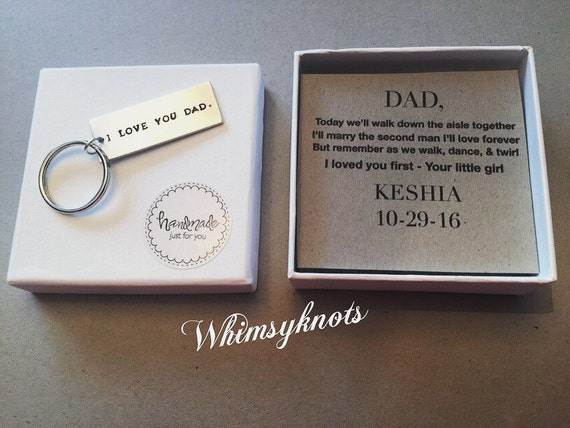 Dad or Grandfather Keychain -gift for him/ gift for dad.  wedding gift for dad, Personalized, Hand-Stamped Jewelry
