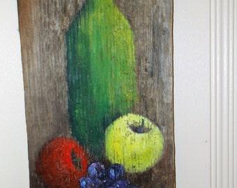 Vintage Still Life Painting on Reclaimed Barnwood