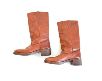 Campus Boot, Brown Boot, Size  8 85 Boot, Cowboy Boot, Boho Boot, Tan Boot,  Frye Style Boot, Women Boot, Western Boot,